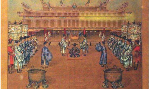 Bộ tranh về Triều đình Huế (la Cour de Hué) của nghệ nhân Nguyễn Văn Nhân thực hiện năm Ất Mùi – 1895, dưới triều Thành Thái, cách đây 124 năm.