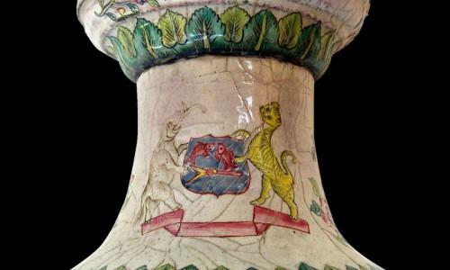 Chân đèn pháp lam đời Minh Mạng vẽ voi và hổ